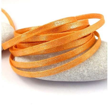 1 metre de laniere doublee repliee scintillante mandarine 5mm