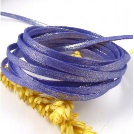 1 metre de laniere doublee repliee scintillante violet 5mm