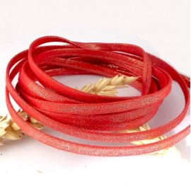 1 metre laniere doublee repliee scintillant rouge 5mm