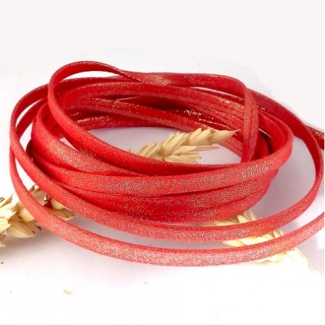 1 metre laniere doublee repliee scintillant rouge 5mm