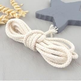 2 metres cordon coton tresse 4mm blanc casse