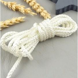 2 metres cordon polyamide tresse 3mm ivoire