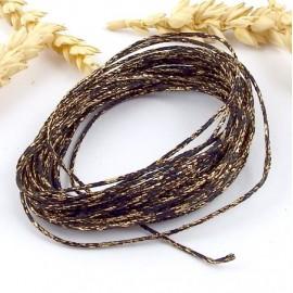 5 metres cordon coton cire noir et or paillete 1mm