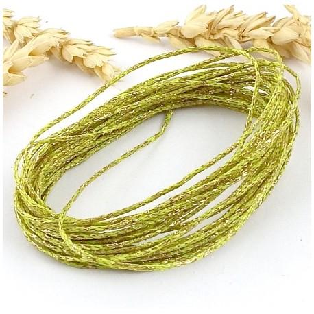 5 metres cordon coton cire vert et or paillete 1mm