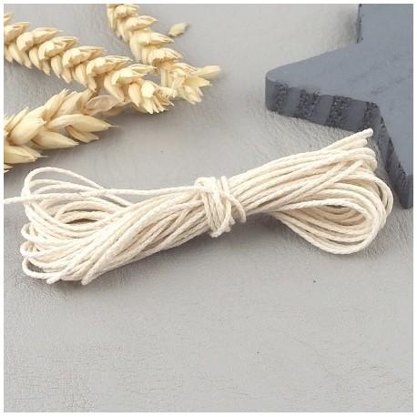 5 metres cordon coton tresse 1mm blanc casse