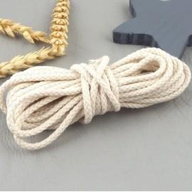 5 metres cordon coton tresse 3mm blanc casse