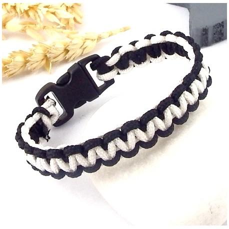 kit tutoriel bracelet paracorde noir et blanc