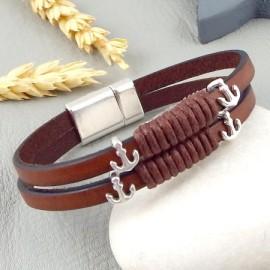 Kit tutoriel bracelet cuir homme marron et argent