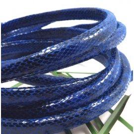Cuir regaliz bleu vif reptile