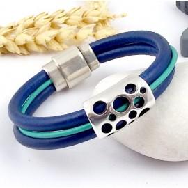 Kit tutoriel bracelet cuir bleu vif et or