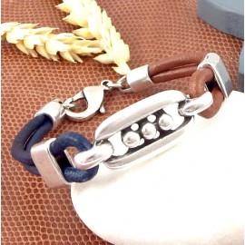 kit tutoriel bracelet cuir marron et bleu ethnique argent