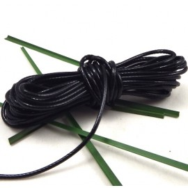 cordon cire brillant noir 2mm par 2 metres