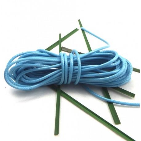 cordon cire brillant turquoise 2mm par 2 metres