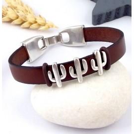 Kit bracelet cuir marron homme ethnique boho