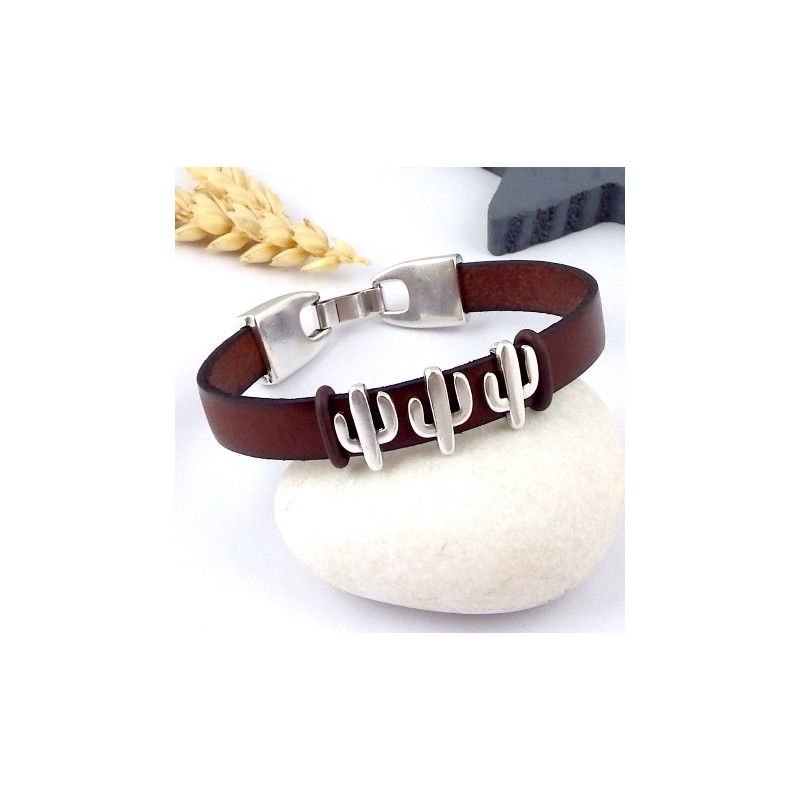 kit tutoriel bracelet cuir homme ethnique gris et bronze. Black Bedroom Furniture Sets. Home Design Ideas