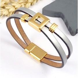 kit tuto bracelet cuir argent et or