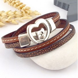 Kit tutoriel bracelet cuir camel animal fermoir coeur