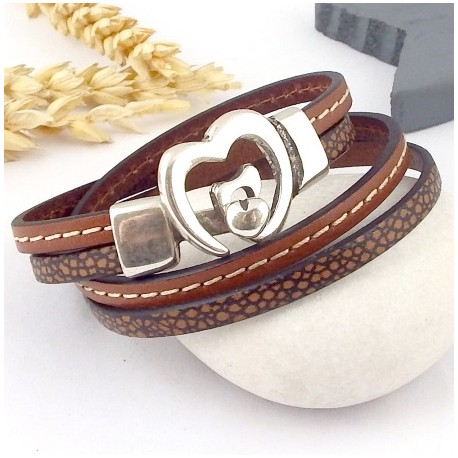 Kit tutoriel bracelet cuir camel animal fermoir coeur