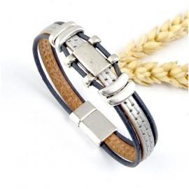kit bracelet cuir 2 coutures argent et gris