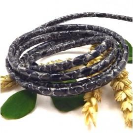 Cordon cuir PU style nappa serpent gris 6mm par 20cm