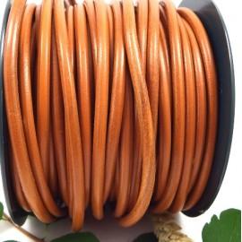 Cordon cuir rond 5mm camel oranger