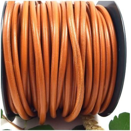cordon cuir rond 5mm camel oranger par 20cm