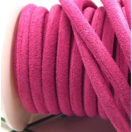cordon daim veritable rond 5mm fuchsia par 20cm