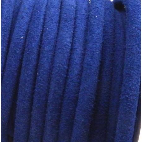 cordon de daim veritable rond 5mm bleu gitane par 20cm
