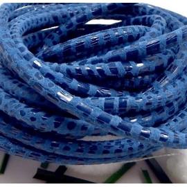 Cordon de daim rond 5mm bleu facon serpent par 20cm