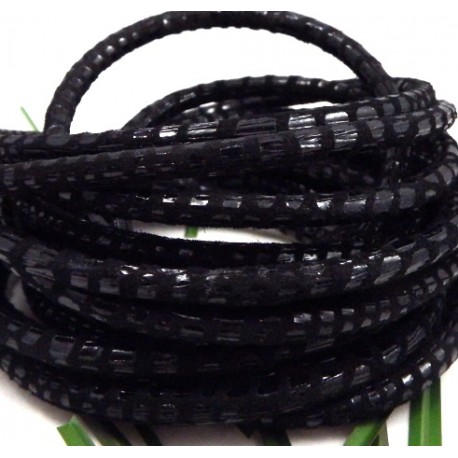 daim rond 5mm noir facon serpent par 20cm