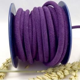 Cordon daim rond 5mm violet haute qualite par 20cm