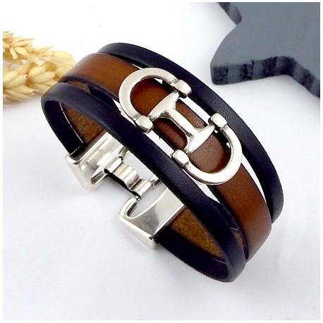 9e67b3b04597 Kit tutoriel bracelet cuir marron et noir mors argent