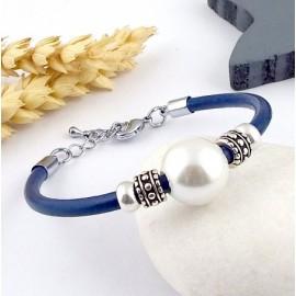 Kit tutoriel bracelet cuir bleu perle nacre et argent