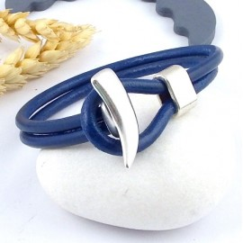 kit tutoriel bracelet cuir bleu vif double fermoir corne argent