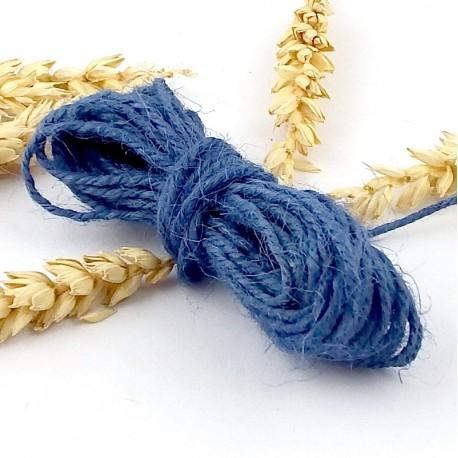 fil cordon de jute bleu 2mm par 5 metres