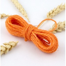 fil cordon de jute orange 2mm par 5 metres