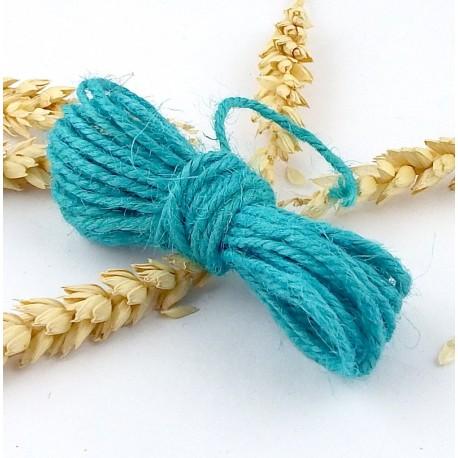 fil cordon de jute turquoise 2mm par 5 metres