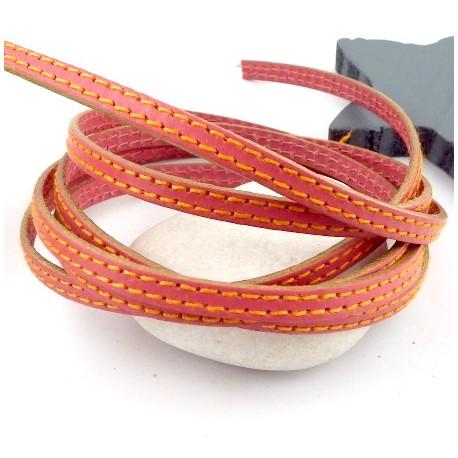 cuir plat 6mm deux coutures corail et orange