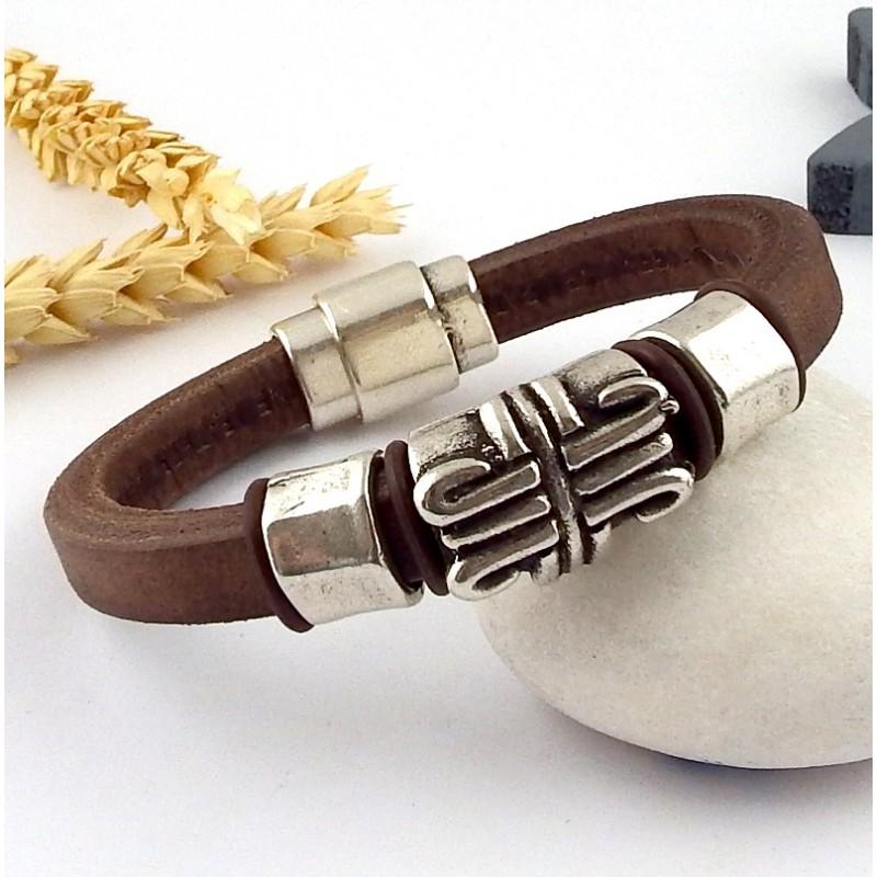 kit tutoriel bracelet cuir homme ethnique marron et argent. Black Bedroom Furniture Sets. Home Design Ideas