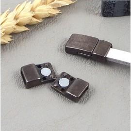 Fermoir magnetique plat zamak gun metal pour cuir 5mm