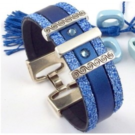 Kit tutoriel bracelet cuir bleu argent et cristal swarovski bleu
