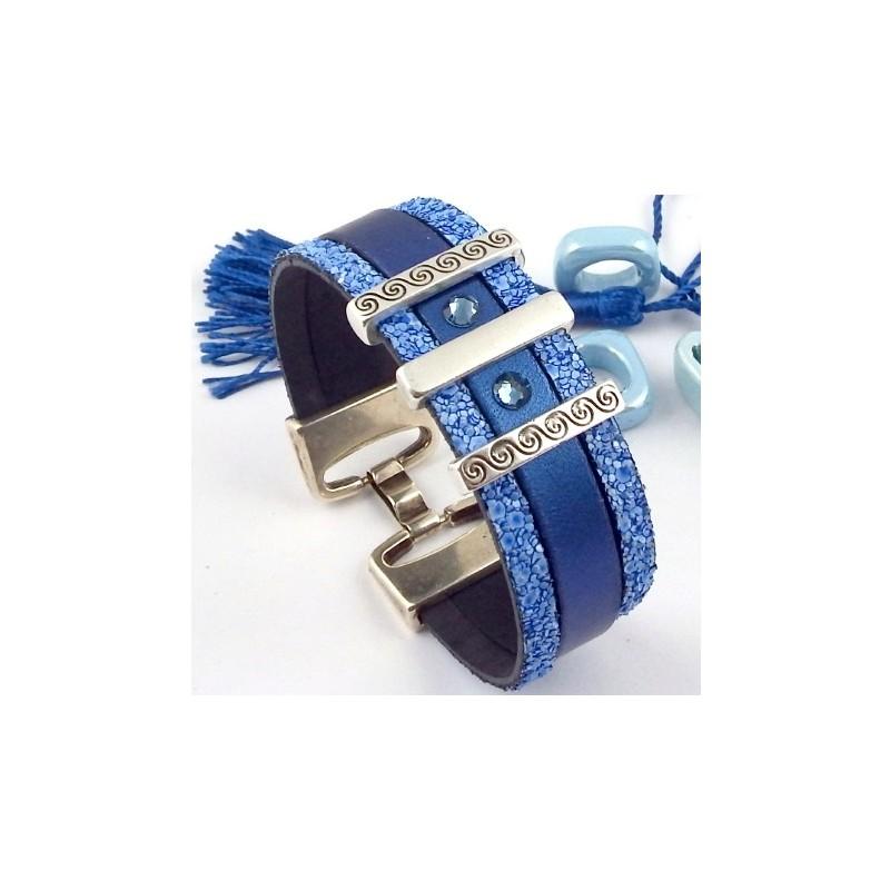 kit tutoriel bracelet cuir manchette bleu et cristal swaroski. Black Bedroom Furniture Sets. Home Design Ideas