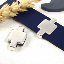 passe cuir style puzzle 2 plaque argent pour cuir plat 20mm