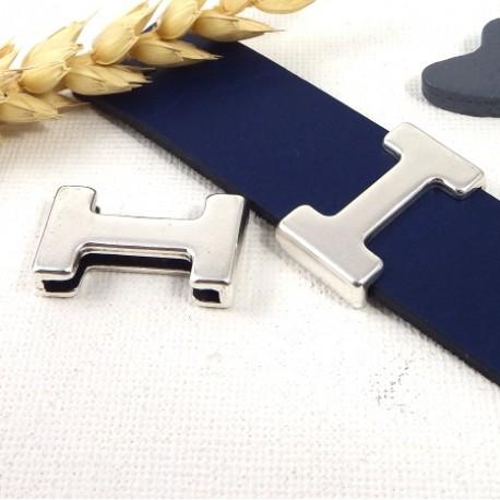 passe cuir style puzzle plaque argent pour cuir plat 20mm