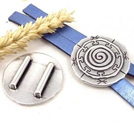 passe cuir grand rond motif inca plaque argent pour cuir plat 20mm