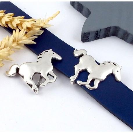 passe cuir cheval au galop plaque argent pour cuir plat 20mm