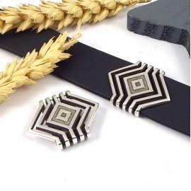 passe cuir geometrique plaque argent pour cuir plat 20mm