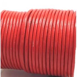 Cordon cuir rond 3mm couleur rouge