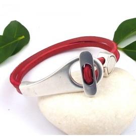 Kit tutoriel bracelet cuir homme et femme nautic rouge grand fermoir boucle argent