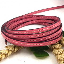 Cuir plat rose 5mm avec couture en gros
